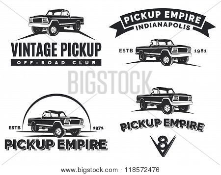 Set Of Suv Pickup Car Vector Emblems, Labels And Logos.