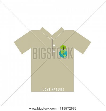 T- shirt design - ECO FRIENDLY - Creative Ecology concept with Green Eco Earth and Trees Vector Design.