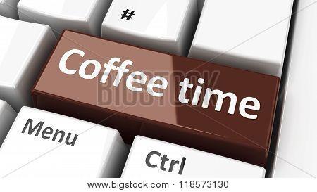 Computer Keyboard Coffee Time