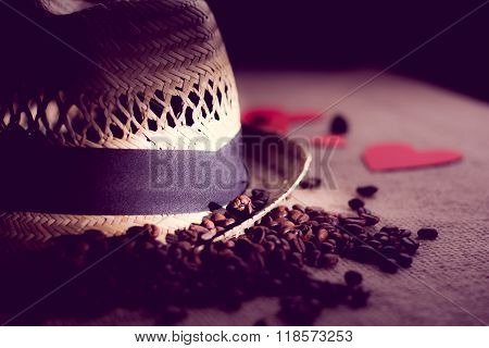 Hat with tape and   freshly roasted coffee beans