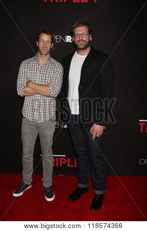 LOS ANGELES - FEB 16:  Colin Ferguson, Adam Copeland, Edge at the Triple 9 Premiere at the Regal 14 Theaters on February 16, 2016 in Los Angeles, CA