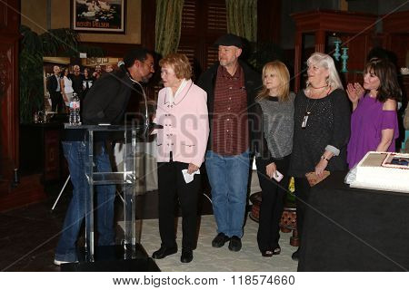 LOS ANGELES - FEB 12:  Kristoff St John, Lee Bell, Kate Linder, Others at the Kristoff St John celebrates 25 Years at YnR at the CBS Television City on February 12, 2016 in Los Angeles, CA