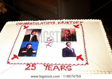 LOS ANGELES - FEB 12:  Cake at the Kristoff St John celebrates 25 Years at YnR at the CBS Television City on February 12, 2016 in Los Angeles, CA