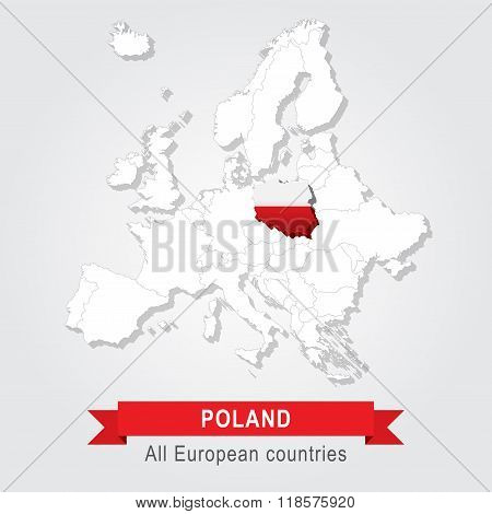 Poland. Europe administrative map.