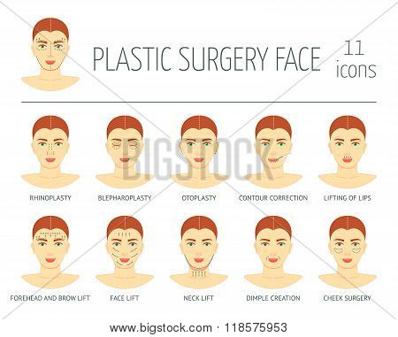 Set Of Plastic Surgery Face Icons. Flat Design. Vector