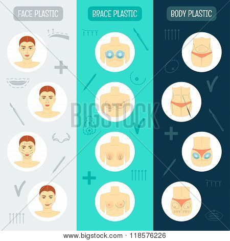 Set of vertical banners. Plastic surgery concept. Flat design. Vector illustration