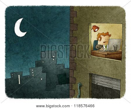 Businessman Working At Night