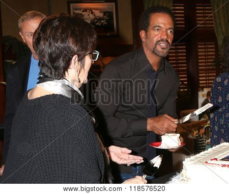 LOS ANGELES - FEB 12:  Jill Farren Phelps, Kristoff St John at the Kristoff St John celebrates 25 Years at YnR at the CBS Television City on February 12, 2016 in Los Angeles, CA