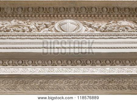 White decorative plaster moldings