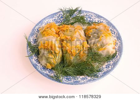 Cookery. High-calorie Dish. Meat With Cabbage