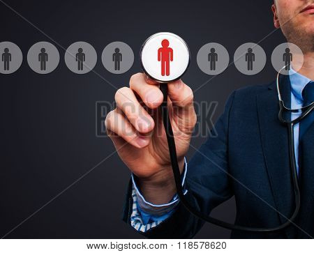 Businessman Hand With Stethoscope