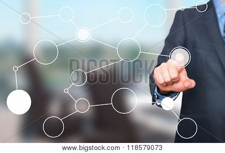 Businessman Hand Drawing Blank Flow Chart On New Modern Computer As Concept