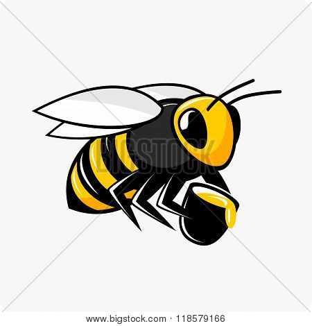Vector character bee with honey