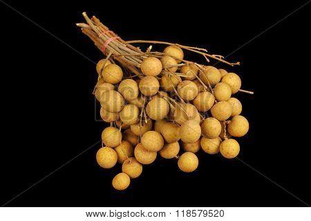 Longan Fruit Isolated On Black Background