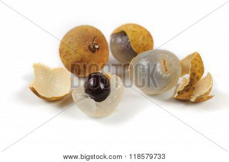 Dimocarpus Longan Thai Fruit Isolated On White