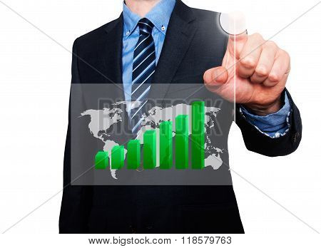 Businessman In Dark Suit Pushing Button Worldmap Global Growth