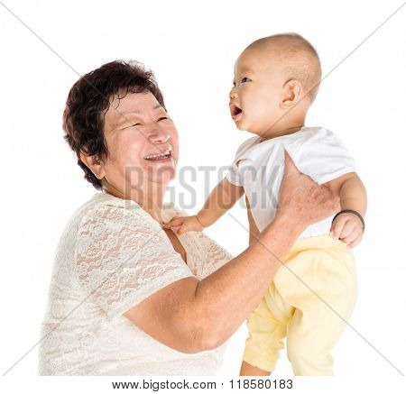 Asian grandmother and grandchild portrait, isolated on white background.