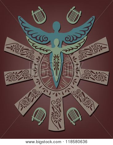 Vector illustration of the Greek myth Daedalus and Icarus
