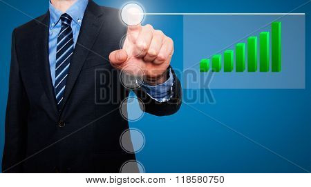 Businessman In Dark Suit Pushing Button, Visual Screen Growth Graph Going Up