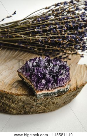 Raw Amethyst Rock With Bunch Of Aromatic Lavender Flowers On Natural Wood Rustic Esoteric