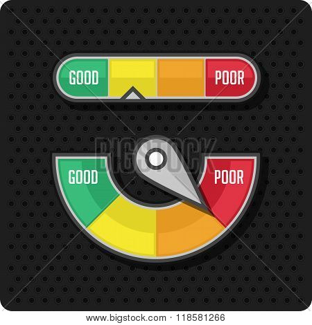 Credit meter on a black background