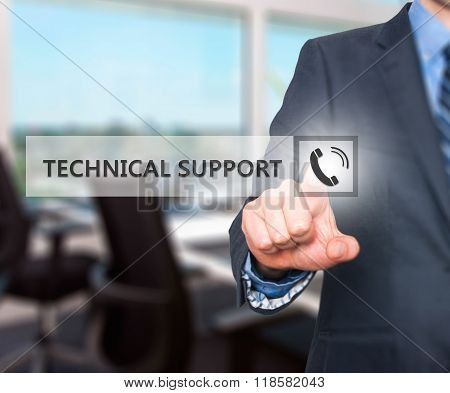 Businessman Pressing Technical Support Button On Virtual Screens