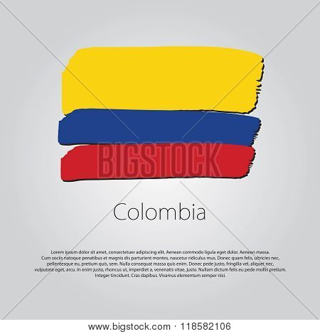 Colombia Flag With Colored Hand Drawn Lines In Vector Format