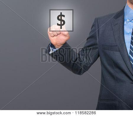 Businessman Press Dollar Sign Icon
