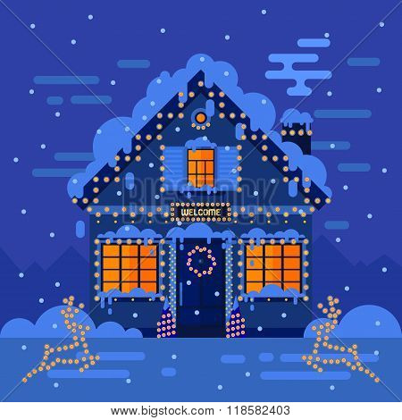 Winter Night House And Landscapes. Stock Flat Vector Illustration