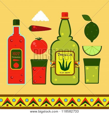 Tequila vector set