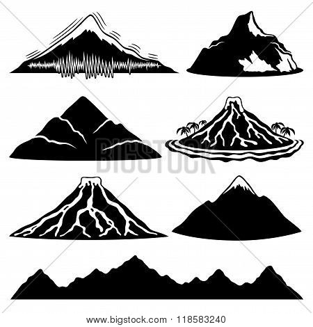 Mountains, volcanoes and tropical island