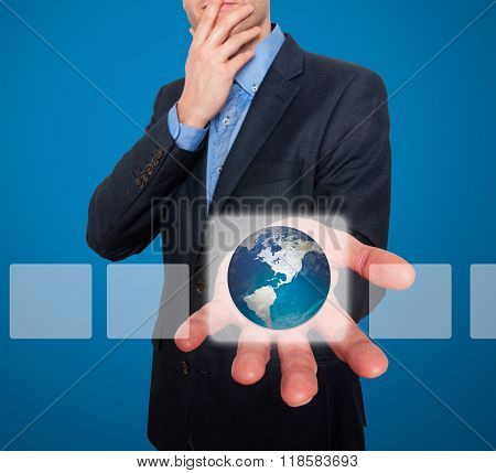 Earth In Front Of Businessman