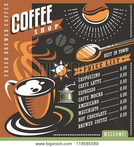 Coffee house menu creative template. Cafe price list with cup of coffee and coffee beans