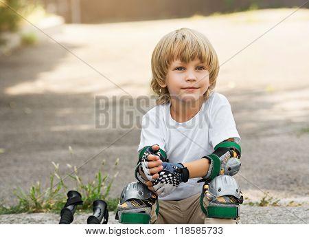 Boy roller skates portrait