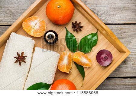 Spa assortment with organic tangerine essential oil
