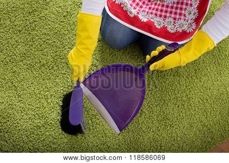 Carpet Cleaning With Brush And Dustpan