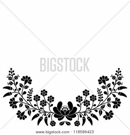 Hungarian black floral folk pattern - Kalocsai embroidery with flowers and paprika
