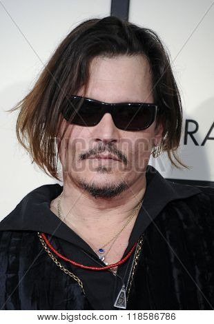 Johnny Depp at he 58th GRAMMY Awards held at the Staples Center in Los Angeles, USA on February 15, 2016.