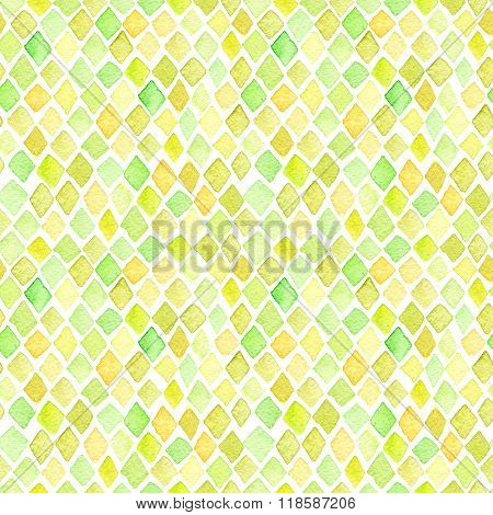 Set Of Seamless Watercolor Patterns. Simple Geometric Shapes.