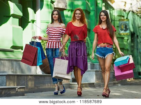 three sisters with Shopping Bags