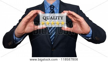 Businessman Holding White Card With Quality Five Stars Sign, White- Stock Photo