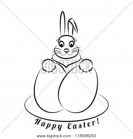 Easter Bunny With Eggs. Monochrome Pattern On A White Background.