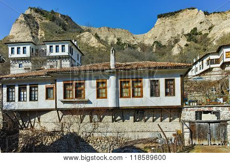 Houses from nineteenth century in town of Melnik, Blagoevgrad region, Bulgaria