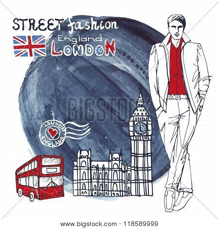 London dude men.Watercolor splash background.Street fashion