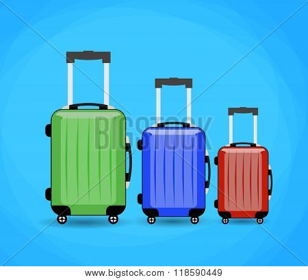 three Travel bag isolated on background.