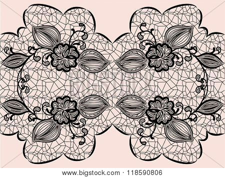 Seamless Black Lace Ribbon With Floral Elements For Design Greeting Cards Or Wedding Invitations.