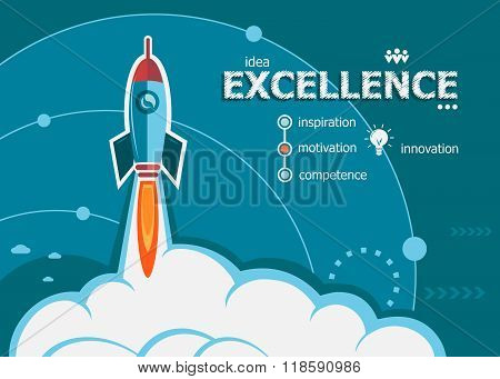 Excellence Design And Concept Background With Rocket.