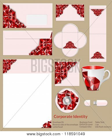 Design Of Corporate Identity. Abstrakt Red Geometric Pattern.