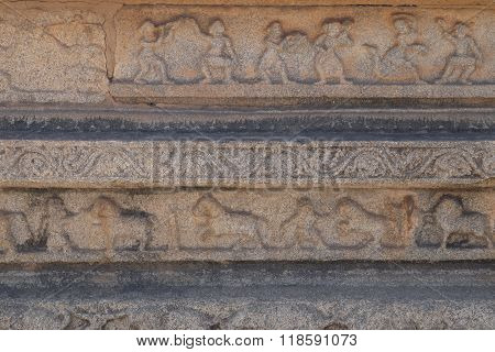 bas-reliefs of old Hampi