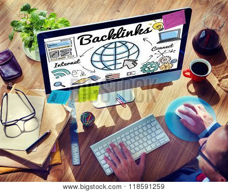 Backlinks Technology Online Web Concept